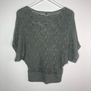 F21 Crochet Knit Dolman Short Sleeve Top Gray S